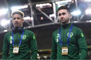 15 November 2018; Callum Robinson, left, and Sean Maguire of Republic of Ireland prior to the International Friendly match between Republic of Ireland and Northern Ireland at the Aviva Stadium in Dublin. Photo by Stephen McCarthy/Sportsfile