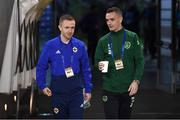 15 November 2018; Shaun Williams, right, of Republic of Ireland and Shane Ferguson of Northern Ireland prior to the International Friendly match between Republic of Ireland and Northern Ireland at the Aviva Stadium in Dublin. Photo by Stephen McCarthy/Sportsfile
