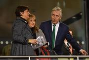 15 November 2018; Chief Executive of the Football Association of Ireland John Delaney and DUP leader Arlene Foster prior to the International Friendly match between Republic of Ireland and Northern Ireland at the Aviva Stadium in Dublin. Photo by Seb Daly/Sportsfile