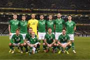 15 November 2018; The Republic of Ireland team, back row, James McClean, Seamus Coleman, Darren Randolph, John Egan, Darragh Lenihan, Shane Duffy Callum O'Dowda, front row, Callum Robinson, Glenn Whelan with his son Jack, Jeff Hendrick and Robbie Brady of Republic of Ireland  of the pitch prior to the International Friendly match between Republic of Ireland and Northern Ireland at the Aviva Stadium in Dublin. Photo by Stephen McCarthy/Sportsfile