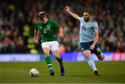 15 November 2018; Seamus Coleman of Republic of Ireland in action against Stuart Dallas of Northern Ireland during the International Friendly match between Republic of Ireland and Northern Ireland at the Aviva Stadium in Dublin. Photo by Seb Daly/Sportsfile