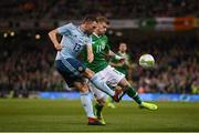 15 November 2018; James McClean of Republic of Ireland in action against Cory Evans of Northern Ireland during the International Friendly match between Republic of Ireland and Northern Ireland at the Aviva Stadium in Dublin. Photo by Stephen McCarthy/Sportsfile