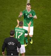 15 November 2018; Glenn Whelan of Republic of Ireland is replaced by Conor Hourihane during the International Friendly match between Republic of Ireland and Northern Ireland at the Aviva Stadium in Dublin. Photo by Eóin Noonan/Sportsfile