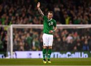15 November 2018; Glenn Whelan of Republic of Ireland salutes the Republic of Ireland supporters as he leaves the pitch during the International Friendly match between Republic of Ireland and Northern Ireland at the Aviva Stadium in Dublin. Photo by Seb Daly/Sportsfile