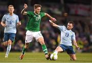 15 November 2018; Jeff Hendrick of Republic of Ireland in action against Corry Evans of Northern Ireland during the International Friendly match between Republic of Ireland and Northern Ireland at the Aviva Stadium in Dublin. Photo by Harry Murphy/Sportsfile