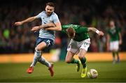 15 November 2018; Stuart Dallas of Northern Ireland in action against James McClean of Republic of Ireland during the International Friendly match between Republic of Ireland and Northern Ireland at the Aviva Stadium in Dublin. Photo by Stephen McCarthy/Sportsfile