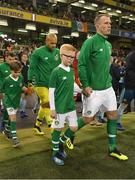 15 November 2018; Glenn Whelan of Republic of Ireland, with his son Jack, prior to the International Friendly match between Republic of Ireland and Northern Ireland at the Aviva Stadium in Dublin. Photo by Stephen McCarthy/Sportsfile