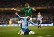 15 November 2018; Michael Smith of Northern Ireland in action against James McClean of Republic of Ireland during the International Friendly match between Republic of Ireland and Northern Ireland at the Aviva Stadium in Dublin. Photo by Stephen McCarthy/Sportsfile