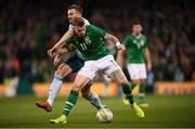 15 November 2018; James McClean of Republic of Ireland in action against Stuart Dallas of Northern Ireland during the International Friendly match between Republic of Ireland and Northern Ireland at the Aviva Stadium in Dublin. Photo by Stephen McCarthy/Sportsfile