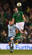 15 November 2018; John Egan of Republic of Ireland in action against Gavin Whyte of Northern Ireland during the International Friendly match between Republic of Ireland and Northern Ireland at the Aviva Stadium in Dublin. Photo by Stephen McCarthy/Sportsfile
