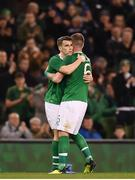 15 November 2018; Seamus Coleman of Republic of Ireland hugs team-mate Glenn Whelan as the leaves the pitch during the International Friendly match between Republic of Ireland and Northern Ireland at the Aviva Stadium in Dublin. Photo by Stephen McCarthy/Sportsfile