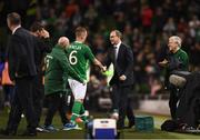 15 November 2018; Glenn Whelan of Republic of Ireland shakes hands with manager Martin O'Neill as he leaves the field after making his final international appearance during the International Friendly match between Republic of Ireland and Northern Ireland at the Aviva Stadium in Dublin. Photo by Stephen McCarthy/Sportsfile