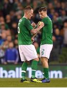 15 November 2018; Glenn Whelan, left, hands the captain's armband to Seamus Coleman of Republic of Ireland as he leaves the field during the International Friendly match between Republic of Ireland and Northern Ireland at the Aviva Stadium in Dublin. Photo by Harry Murphy/Sportsfile