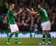 15 November 2018; Glenn Whelan of Republic of Ireland is replaced by Conor Hourihane during the International Friendly match between Republic of Ireland and Northern Ireland at the Aviva Stadium in Dublin. Photo by Stephen McCarthy/Sportsfile