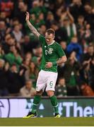 15 November 2018; Glenn Whelan of Republic of Ireland salutes the Republic of Ireland supporters as he leaves the pitch during the International Friendly match between Republic of Ireland and Northern Ireland at the Aviva Stadium in Dublin. Photo by Stephen McCarthy/Sportsfile