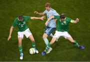 15 November 2018; George Saville of Northern Ireland in action against Seamus Coleman, right, and Conor Hourihane of Republic of Ireland during the International Friendly match between Republic of Ireland and Northern Ireland at the Aviva Stadium in Dublin. Photo by Eóin Noonan/Sportsfile