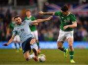 15 November 2018; Sean Maguire of Republic of Ireland in action against Stuart Dallas of Northern Ireland during the International Friendly match between Republic of Ireland and Northern Ireland at the Aviva Stadium in Dublin. Photo by Seb Daly/Sportsfile