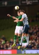 15 November 2018; Ronan Curtis of Republic of Ireland in action against Craig Cathcart during the International Friendly match between Republic of Ireland and Northern Ireland at the Aviva Stadium in Dublin. Photo by Stephen McCarthy/Sportsfile