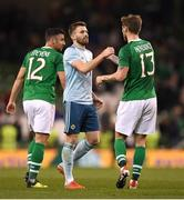 15 November 2018; Stuart Dallas, left, of Northern Ireland and Jeff Hendrick of Republic of Ireland after the International Friendly match between Republic of Ireland and Northern Ireland at the Aviva Stadium in Dublin. Photo by Harry Murphy/Sportsfile