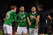 15 November 2018; Ronan Curtis, left, Conor Hourihane, centre, and Robbie Brady of Republic of Ireland talk to the referee Slavko Vincic during the International Friendly match between Republic of Ireland and Northern Ireland at the Aviva Stadium in Dublin. Photo by Seb Daly/Sportsfile