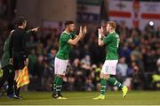 15 November 2018; Enda Stevens, left, of Republic of Ireland comes on for James McClean during the International Friendly match between Republic of Ireland and Northern Ireland at the Aviva Stadium in Dublin. Photo by Stephen McCarthy/Sportsfile