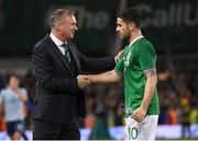 15 November 2018; Northern Ireland manager Michael O'Neill shakes hands with Robbie Brady of Republic of Ireland after the International Friendly match between Republic of Ireland and Northern Ireland at the Aviva Stadium in Dublin. Photo by Stephen McCarthy/Sportsfile