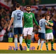 15 November 2018; Cyrus Christie of Republic of Ireland and Jonny Evans of Northern Ireland following the International Friendly match between Republic of Ireland and Northern Ireland at the Aviva Stadium in Dublin. Photo by Seb Daly/Sportsfile