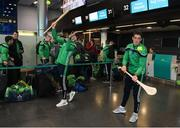 16 November 2018; Wexford and Limerick hurlers departed Dublin Airport for Boston today onboard Aer Lingus flight EI 137. Aer Lingus, Title Sponsor and Official Airline of the Aer Lingus Fenway Hurling Classic, is thrilled to once again be supporting this unique cultural and sporting event, bringing four teams and 130 hurlers to Boston's famous Fenway Park. Games will be broadcast on TG4 on Sunday, November 18th with Wexford v Limerick in the first semi-final and Clare v Cork in the second semi-final. Pictured at the Aer Lingus Fenway Hurling Classic - Send Off are Limerick hurlers Aaron Gillane, left, and Nicky Quiad at Dublin Airport, Dublin. Photo by Eóin Noonan/Sportsfile