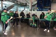 16 November 2018; Wexford and Limerick hurlers departed Dublin Airport for Boston today onboard Aer Lingus flight EI 137. Aer Lingus, Title Sponsor and Official Airline of the Aer Lingus Fenway Hurling Classic, is thrilled to once again be supporting this unique cultural and sporting event, bringing four teams and 130 hurlers to Boston's famous Fenway Park. Games will be broadcast on TG4 on Sunday, November 18th with Wexford v Limerick in the first semi-final and Clare v Cork in the second semi-final. Pictured at the Aer Lingus Fenway Hurling Classic - Send Off are Limerick hurlers Colin Ryan, left, and Aaron Gillane at Dublin Airport, Dublin. Photo by Eóin Noonan/Sportsfile