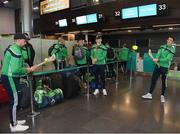16 November 2018; Wexford and Limerick hurlers departed Dublin Airport for Boston today onboard Aer Lingus flight EI 137. Aer Lingus, Title Sponsor and Official Airline of the Aer Lingus Fenway Hurling Classic, is thrilled to once again be supporting this unique cultural and sporting event, bringing four teams and 130 hurlers to Boston's famous Fenway Park. Games will be broadcast on TG4 on Sunday, November 18th with Wexford v Limerick in the first semi-final and Clare v Cork in the second semi-final. Pictured at the Aer Lingus Fenway Hurling Classic - Send Off is Limerick hurlers Colin Ryan, Aaron Gillane, centre, and Nicky Quiad at Dublin Airport, Dublin. Photo by Eóin Noonan/Sportsfile