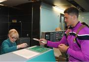 16 November 2018; Wexford and Limerick hurlers departed Dublin Airport for Boston today onboard Aer Lingus flight EI 137. Aer Lingus, Title Sponsor and Official Airline of the Aer Lingus Fenway Hurling Classic, is thrilled to once again be supporting this unique cultural and sporting event, bringing four teams and 130 hurlers to Boston's famous Fenway Park. Games will be broadcast on TG4 on Sunday, November 18th with Wexford v Limerick in the first semi-final and Clare v Cork in the second semi-final. Pictured at the Aer Lingus Fenway Hurling Classic - Send Off is Wexford hurler Lee Chin checking in at Dublin Airport, Dublin. Photo by Eóin Noonan/Sportsfile