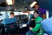16 November 2018; Wexford and Limerick hurlers departed Dublin Airport for Boston today onboard Aer Lingus flight EI 137. Aer Lingus, Title Sponsor and Official Airline of the Aer Lingus Fenway Hurling Classic, is thrilled to once again be supporting this unique cultural and sporting event, bringing four teams and 130 hurlers to Boston's famous Fenway Park. Games will be broadcast on TG4 on Sunday, November 18th with Wexford v Limerick in the first semi-final and Clare v Cork in the second semi-final. Pictured are Wexford Hurler Lee Chin, Limerick Hurler Nickie Quaid Aer Lingus Captain David Poole, left, and Aer Lingus First Officer Paul Purcell during the Aer Lingus Fenway Hurling Classic Send Off at Dublin Airport in Dublin. Photo by Piaras Ó Mídheach/Sportsfile