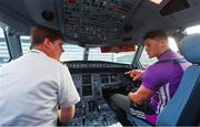 16 November 2018; Wexford and Limerick hurlers departed Dublin Airport for Boston today onboard Aer Lingus flight EI 137. Aer Lingus, Title Sponsor and Official Airline of the Aer Lingus Fenway Hurling Classic, is thrilled to once again be supporting this unique cultural and sporting event, bringing four teams and 130 hurlers to Boston's famous Fenway Park. Games will be broadcast on TG4 on Sunday, November 18th with Wexford v Limerick in the first semi-final and Clare v Cork in the second semi-final. Pictured are Wexford Hurler Lee Chin and Aer Lingus Captain David Poole during the Aer Lingus Fenway Hurling Classic Send Off at Dublin Airport in Dublin. Photo by Piaras Ó Mídheach/Sportsfile