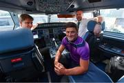 16 November 2018; Wexford and Limerick hurlers departed Dublin Airport for Boston today onboard Aer Lingus flight EI 137. Aer Lingus, Title Sponsor and Official Airline of the Aer Lingus Fenway Hurling Classic, is thrilled to once again be supporting this unique cultural and sporting event, bringing four teams and 130 hurlers to Boston's famous Fenway Park. Games will be broadcast on TG4 on Sunday, November 18th with Wexford v Limerick in the first semi-final and Clare v Cork in the second semi-final. Pictured are Wexford Hurler Lee Chin, Aer Lingus Captain David Poole, left, and Aer Lingus First Officer Paul Purcell during the Aer Lingus Fenway Hurling Classic Send Off at Dublin Airport in Dublin. Photo by Piaras Ó Mídheach/Sportsfile