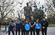 16 November 2018; Dublin players Chris Crummey, Cian O'Sullivan, Sinéad Goldrick and Ali Twomey with New Zealand All Black's Nepo Laulala, Sam Whitelock and Liam Squire visit the World War 1 memorial at St. Stephen's Green in Dublin. Photo by Matt Browne/Sportsfile