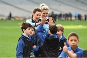 16 November 2018; World Rugby Champions, New Zealand All Blacks and Dublin GAA senior players were in Croke Park today at the AIG Heroes event, a CSR initiative to help support local grassroots communities by using their sporting partnerships with Dublin GAA and others to promote sport as a means to build self-confidence and social skills in young kids. As part of the visit to Croke Park, AIG also gifted primary schools in the area with sports equipment. AIG is proud sponsor of Dublin GAA and New Zealand Rugby. Pictured are Dublin Footballers Lydnsey Davey, left, and Nicole Owens with attendees during the AIG Heroes Event at Croke Park, Dublin. Photo by Sam Barnes/Sportsfile