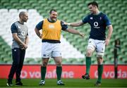 16 November 2018; Jack McGrath, centre, and James Ryan, right, with strength & conditioning coach Jason Cowman during the Ireland Rugby Captain's Run at the Aviva Stadium in Dublin. Photo by David Fitzgerald/Sportsfile