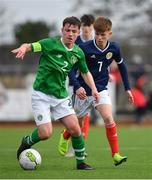 16 November 2018; Gavin O'Brien of Republic of Ireland in action against Liam Smith of Scotland during the U16 Victory Shield match between Republic of Ireland and Scotland at Mounthawk Park in Tralee, Kerry. Photo by Brendan Moran/Sportsfile