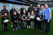 16 November 2018; World Rugby Champions, New Zealand All Blacks and Dublin GAA senior players were in Croke Park today at the AIG Heroes event, a CSR initiative to help support local grassroots communities by using their sporting partnerships with Dublin GAA and others to promote sport as a means to build self-confidence and social skills in young kids. As part of the visit to Croke Park, AIG also gifted primary schools in the area with sports equipment. AIG is proud sponsor of Dublin GAA and New Zealand Rugby. Pictured are New Zealand All Blacks Stars, from left, Waisake Naholo, TJ Perenara, Jack Goodhue and Patrick Tuipulotu with attendees from Aoibheann's Pink Tie during the AIG Heroes Event at Croke Park, Dublin. Photo by Sam Barnes/Sportsfile