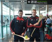 16 November 2018; Cork and Clare hurlers departed Dublin Airport for Boston today onboard an Aer Lingus flight. Aer Lingus, Title Sponsor and Official Airline of the Aer Lingus Fenway Hurling Classic, is thrilled to once again be supporting this unique cultural and sporting event, bringing four teams and 130 hurlers to Boston's famous Fenway Park. Games will be broadcast on TG4 on Sunday, November 18th with Wexford v Limerick in the first semi-final and Clare v Cork in the second semi-final. Pictured at the Aer Lingus Fenway Hurling Classic - Send Off is Cork hurlers, Séamus Harnedy and Damien Cahalane at Dublin Airport, Dublin. Photo by Eóin Noonan/Sportsfile