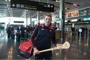 16 November 2018; Cork and Clare hurlers departed Dublin Airport for Boston today onboard an Aer Lingus flight. Aer Lingus, Title Sponsor and Official Airline of the Aer Lingus Fenway Hurling Classic, is thrilled to once again be supporting this unique cultural and sporting event, bringing four teams and 130 hurlers to Boston's famous Fenway Park. Games will be broadcast on TG4 on Sunday, November 18th with Wexford v Limerick in the first semi-final and Clare v Cork in the second semi-final. Pictured at the Aer Lingus Fenway Hurling Classic - Send Off is Cork hurler, Damien Cahalane at Dublin Airport, Dublin. Photo by Eóin Noonan/Sportsfile