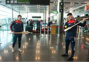 16 November 2018; Cork and Clare hurlers departed Dublin Airport for Boston today onboard an Aer Lingus flight. Aer Lingus, Title Sponsor and Official Airline of the Aer Lingus Fenway Hurling Classic, is thrilled to once again be supporting this unique cultural and sporting event, bringing four teams and 130 hurlers to Boston's famous Fenway Park. Games will be broadcast on TG4 on Sunday, November 18th with Wexford v Limerick in the first semi-final and Clare v Cork in the second semi-final. Pictured at the Aer Lingus Fenway Hurling Classic - Send Off is Cork hurlers, Patrick Horgan and Shane Kingston at Dublin Airport, Dublin. Photo by Eóin Noonan/Sportsfile