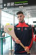 16 November 2018; Cork and Clare hurlers departed Dublin Airport for Boston today onboard an Aer Lingus flight. Aer Lingus, Title Sponsor and Official Airline of the Aer Lingus Fenway Hurling Classic, is thrilled to once again be supporting this unique cultural and sporting event, bringing four teams and 130 hurlers to Boston's famous Fenway Park. Games will be broadcast on TG4 on Sunday, November 18th with Wexford v Limerick in the first semi-final and Clare v Cork in the second semi-final. Pictured at the Aer Lingus Fenway Hurling Classic - Send Off is Cork hurler, Shane Kingston at Dublin Airport, Dublin. Photo by Eóin Noonan/Sportsfile