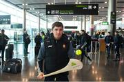 16 November 2018; Cork and Clare hurlers departed Dublin Airport for Boston today onboard an Aer Lingus flight. Aer Lingus, Title Sponsor and Official Airline of the Aer Lingus Fenway Hurling Classic, is thrilled to once again be supporting this unique cultural and sporting event, bringing four teams and 130 hurlers to Boston's famous Fenway Park. Games will be broadcast on TG4 on Sunday, November 18th with Wexford v Limerick in the first semi-final and Clare v Cork in the second semi-final. Pictured at the Aer Lingus Fenway Hurling Classic - Send Off is Clare hurler Donal Tuohy at Dublin Airport, Dublin. Photo by Eóin Noonan/Sportsfile