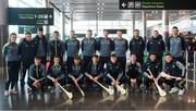 16 November 2018; Cork and Clare hurlers departed Dublin Airport for Boston today onboard an Aer Lingus flight. Aer Lingus, Title Sponsor and Official Airline of the Aer Lingus Fenway Hurling Classic, is thrilled to once again be supporting this unique cultural and sporting event, bringing four teams and 130 hurlers to Boston's famous Fenway Park. Games will be broadcast on TG4 on Sunday, November 18th with Wexford v Limerick in the first semi-final and Clare v Cork in the second semi-final. Pictured at the Aer Lingus Fenway Hurling Classic - Send Off is the Clare hurling team at Dublin Airport, Dublin. Photo by Eóin Noonan/Sportsfile