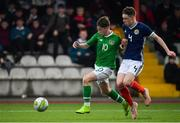 16 November 2018; Louis Barry of Republic of Ireland in action against Leon King of Scotland during the U16 Victory Shield match between Republic of Ireland and Scotland at Mounthawk Park in Tralee, Kerry. Photo by Brendan Moran/Sportsfile