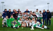 16 November 2018; The Northern Ireland team and management celebrate with the Victory Shield after the U16 Victory Shield match between Northern Ireland and Wales at Mounthawk Park in Tralee, Kerry. Photo by Brendan Moran/Sportsfile