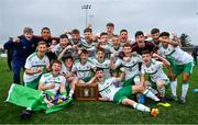 16 November 2018; The Northern Ireland team celebrate with the Victory Shield after the U16 Victory Shield match between Northern Ireland and Wales at Mounthawk Park in Tralee, Kerry. Photo by Brendan Moran/Sportsfile