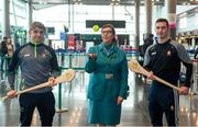 16 November 2018; Cork and Clare hurlers departed Dublin Airport for Boston today onboard an Aer Lingus flight. Aer Lingus, Title Sponsor and Official Airline of the Aer Lingus Fenway Hurling Classic, is thrilled to once again be supporting this unique cultural and sporting event, bringing four teams and 130 hurlers to Boston's famous Fenway Park. Games will be broadcast on TG4 on Sunday, November 18th with Wexford v Limerick in the first semi-final and Clare v Cork in the second semi-final. Pictured at the Aer Lingus Fenway Hurling Classic - Send Off is Clare hurlers Michael O'Neill and Colm Galvin with Aer Lingus staff member Meghan Byrne at Dublin Airport, Dublin. Photo by Eóin Noonan/Sportsfile