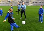 16 November 2018; World Rugby Champions, New Zealand All Blacks and Dublin GAA senior players were in Croke Park today at the AIG Heroes event, a CSR initiative to help support local grassroots communities by using their sporting partnerships with Dublin GAA and others to promote sport as a means to build self-confidence and social skills in young kids. As part of the visit to Croke Park, AIG also gifted primary schools in the area with sports equipment. AIG is proud sponsor of Dublin GAA and New Zealand Rugby. Pictured Lynsey Davey of Dublin with attendees during the AIG Heroes Event at Croke Park, Dublin. Photo by Sam Barnes/Sportsfile